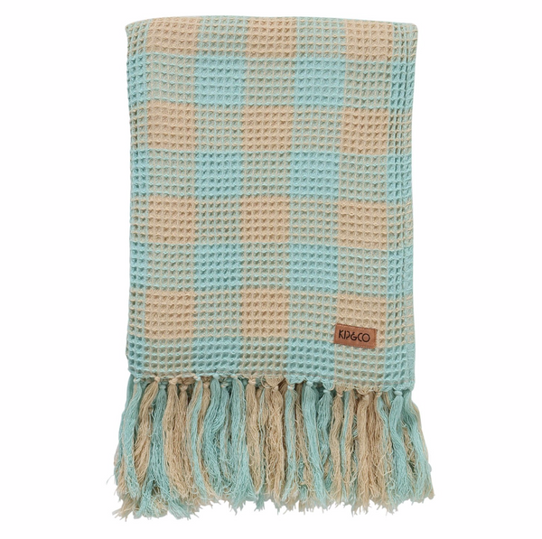 Ice Blue Tartan Waffle Bath Towel By Kip&Co | Chroma Studio