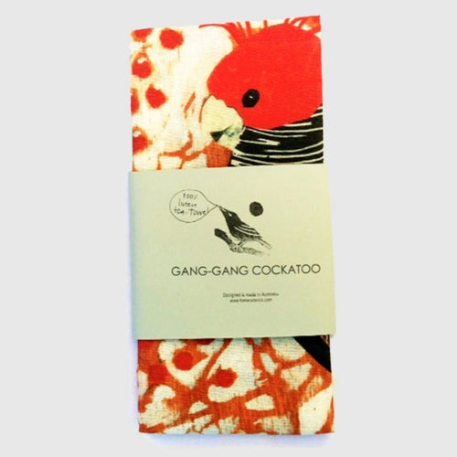 GANG-GANG COCKATOO TEA TOWEL - FIONA RODERICK