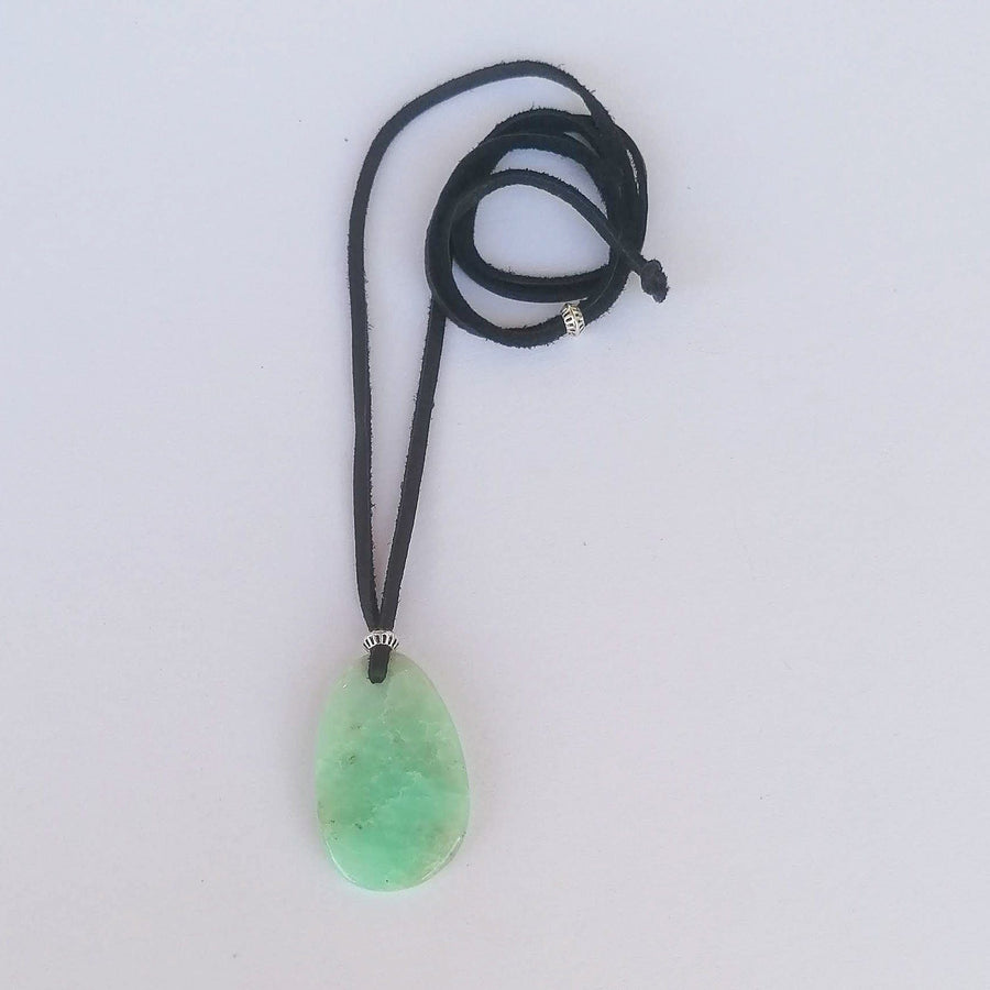 Amulet Pendant, Chrysoprase and Buckskin Necklaces Sayulita Sol