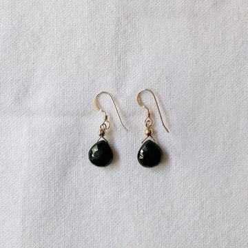 Black Spinel Isla Earrings in Gold Earrings Sayulita Sol Jewelry