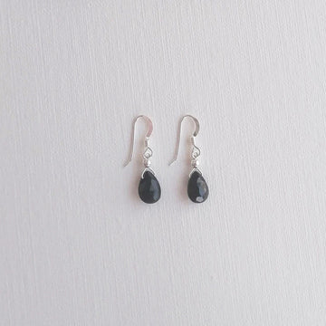 Black Spinel Isla Earrings in Silver Earrings Sayulita Sol Jewelry
