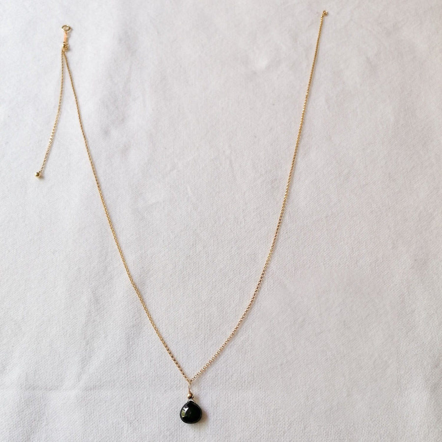 Black Spinel Isla Pendant in Gold Necklaces Sayulita Sol 14kt Gold Fill Adjustable Chain +$85