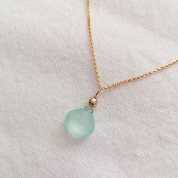 Chalcedony Isla Pendant in Gold Necklaces Sayulita Sol
