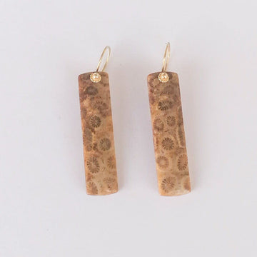 Dora Earrings with Fossilized Coral in Gold Earrings Sayulita Sol Jewelry
