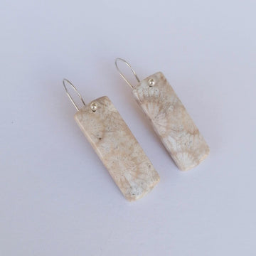 Dora Earrings with Fossilized Coral in Silver Earrings Sayulita Sol Jewelry