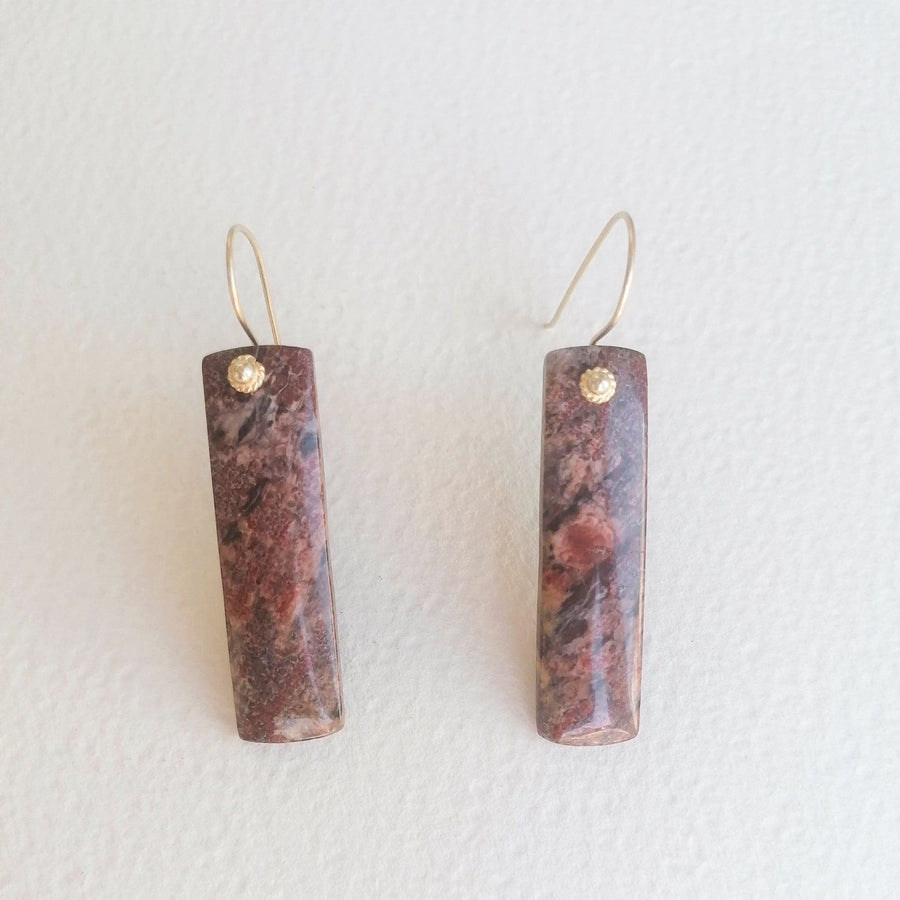 Dora Earrings with Jasper in Gold Earrings Sayulita Sol Jewelry
