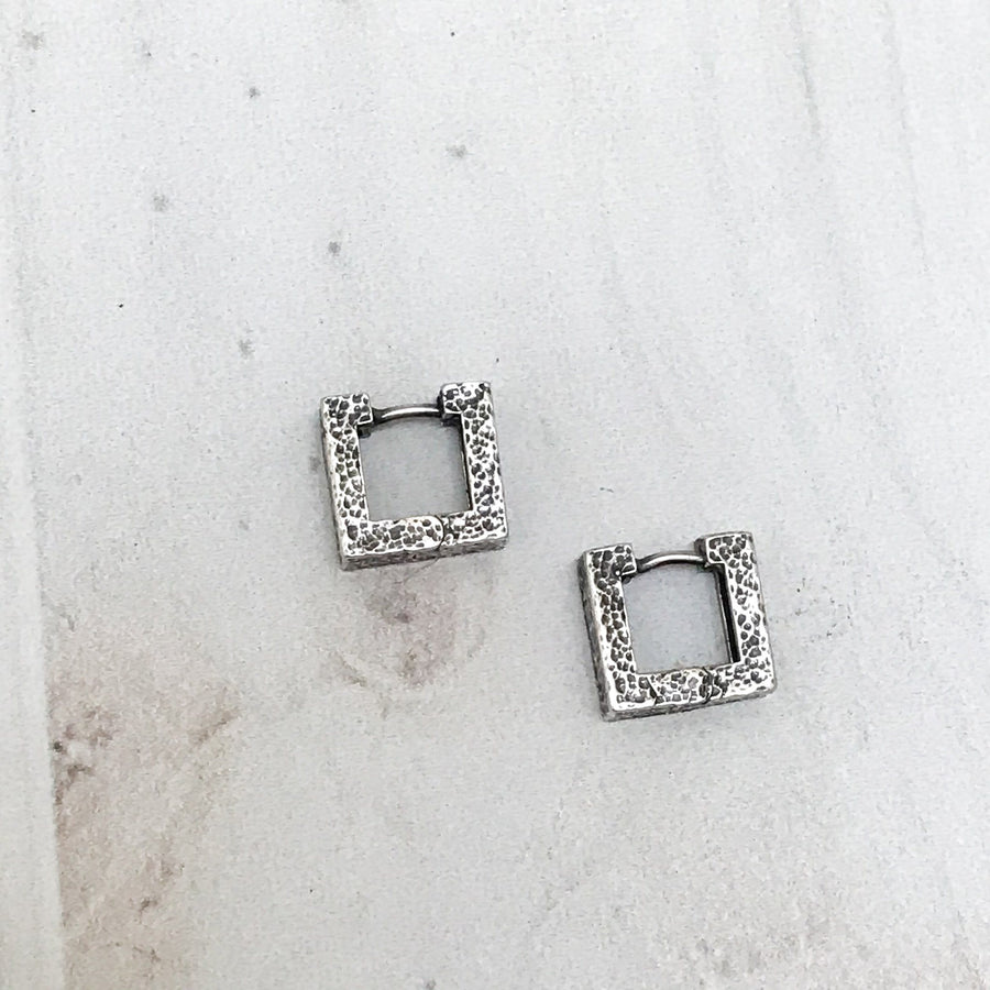 Element Square Hammered Silver Huggies - Sayulita Sol Jewelry