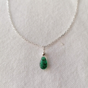 Emerald Isla Pendant in Silver Necklaces Sayulita Sol 16 inch Sterling Silver Chain +$23