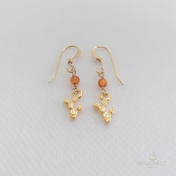 Golden Nopalito Earrings with Amber Earrings Sayulita Sol