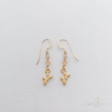 Golden Nopalito Earrings with Fire Opal Earrings Sayulita Sol