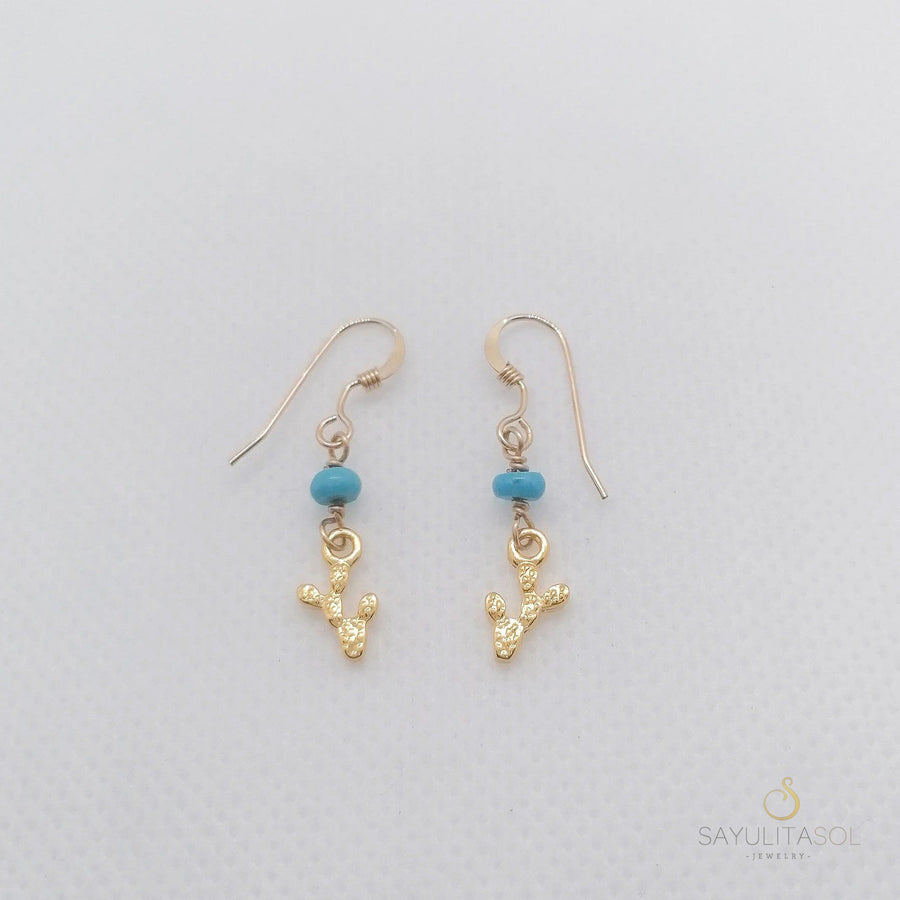 Golden Nopalito Earrings with Turquoise Earrings Sayulita Sol