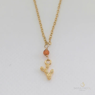 Golden Nopalito Pendant with Amber Necklaces Sayulita Sol
