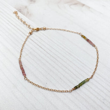 Horizon Tourmaline Anklet in Gold Anklets Sayulita Sol Jewelry
