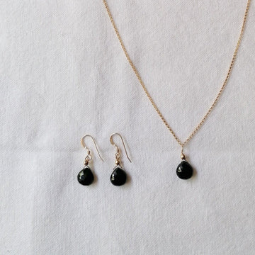 Isla Set, Black Spinel Pendant and Earrings in Gold Set Sayulita Sol Jewelry