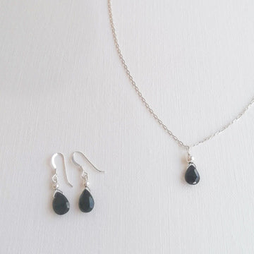 Isla Set, Black Spinel Pendant and Earrings in Silver Set Sayulita Sol Jewelry