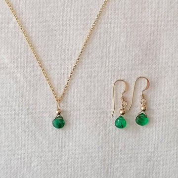 Isla Set, Emerald Pendant and Earrings in Gold Set Sayulita Sol Jewelry