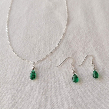 Isla Set, Emerald Pendant and Earrings in Silver Set Sayulita Sol Jewelry