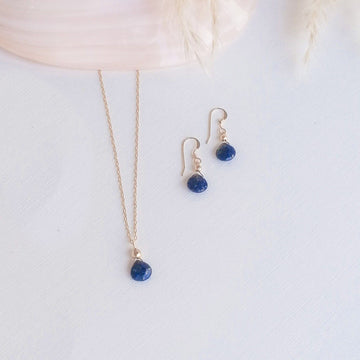 Isla Set, Lapis Lazuli Pendant and Earrings in Gold Set Sayulita Sol Jewelry