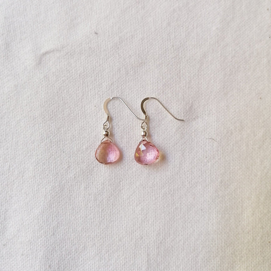 Isla Set, Pink Quartz Pendant and Earrings in Silver Set Sayulita Sol Jewelry