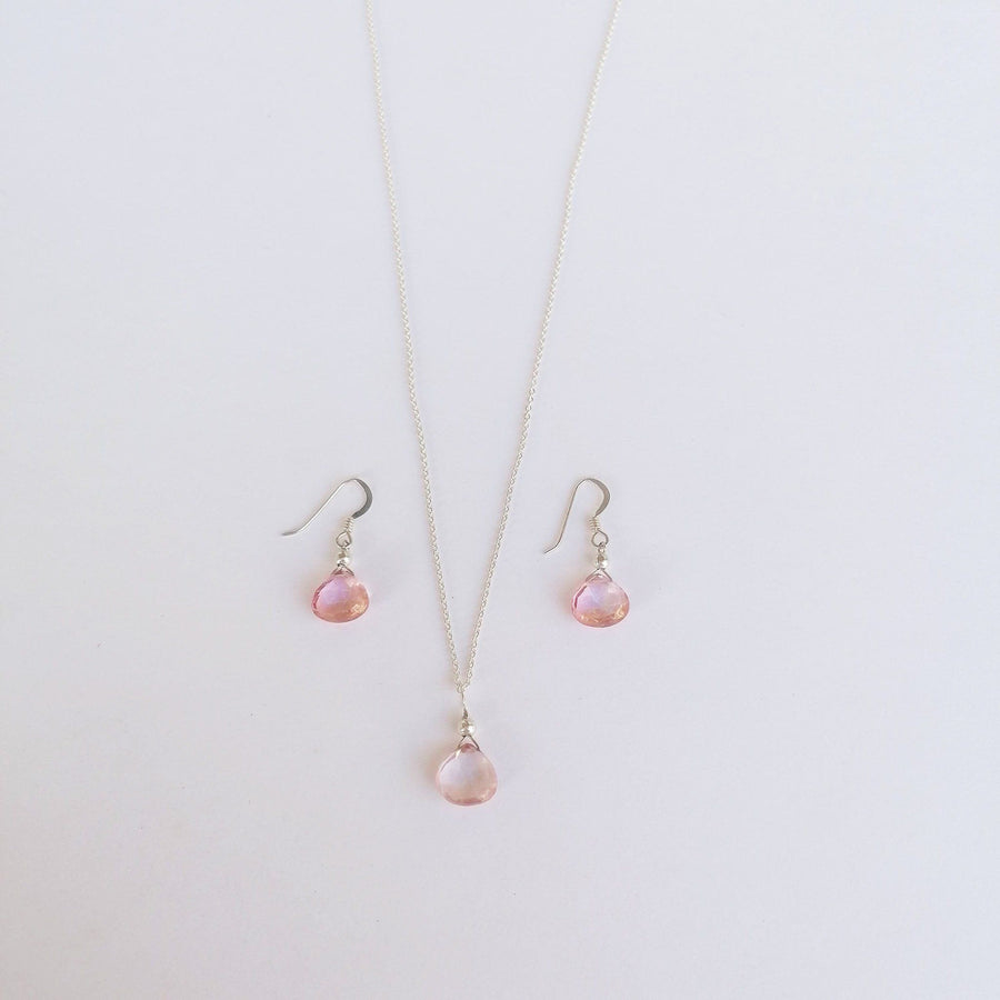 Isla Set, Pink Quartz Pendant and Earrings in Silver Set Sayulita Sol Jewelry No Chain, Just the Pendant and Earrings
