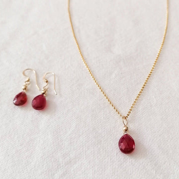 Isla Set, Ruby Pendant and Earrings in Gold Set Sayulita Sol Jewelry
