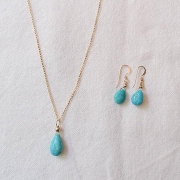 Isla Set, Turquoise Pendant and Earrings in Gold Set Sayulita Sol Jewelry