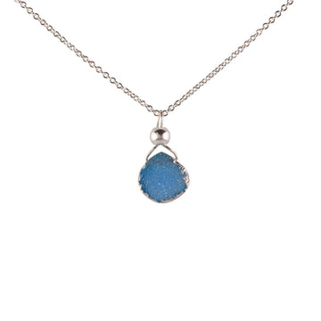 Julianna Baby Blue Druzy Pendant in Silver - Sayulita Sol Jewelry