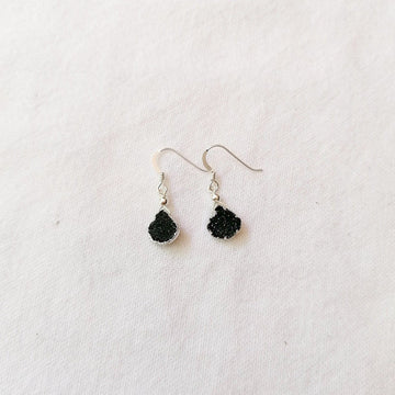 Julianna Earrings, Black Druzy Pear with Contoured Silver Bezel Earrings Sayulita Sol