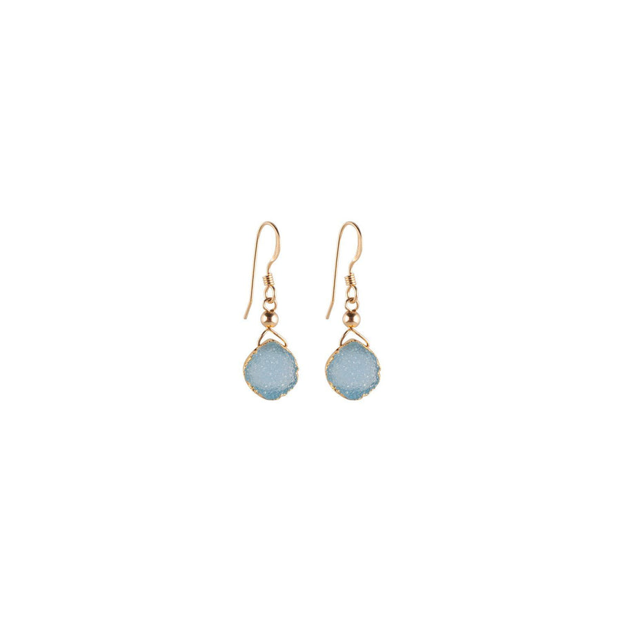 Julianna Earrings, Blue Druzy Pear contoured with Gold - Sayulita Sol Jewelry