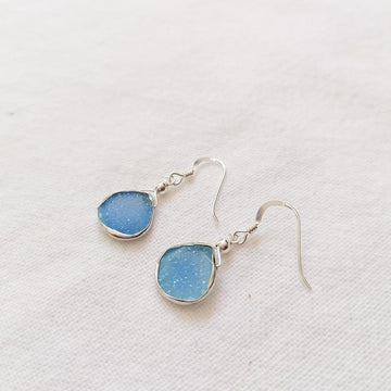 Julianna Earrings, Blue Druzy Pear with Classic Silver Bezel Earrings Sayulita Sol