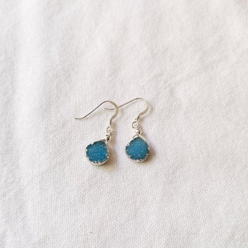 Julianna Earrings, Blue Druzy Pear with Contoured Silver Bezel Earrings Sayulita Sol