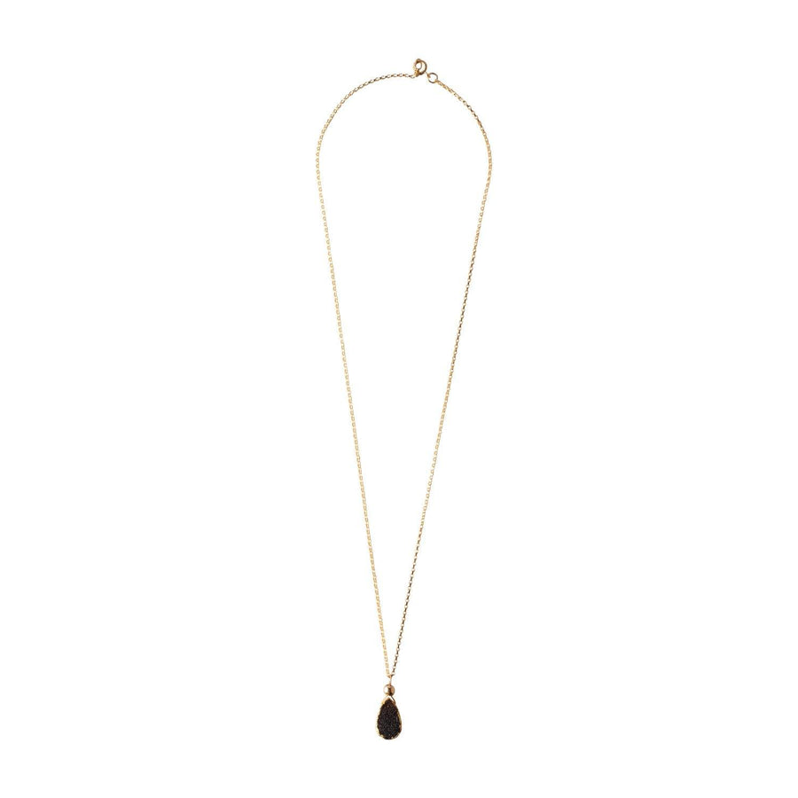 Julianna Pendant, Black Druzy Almond with Gold - Sayulita Sol Jewelry