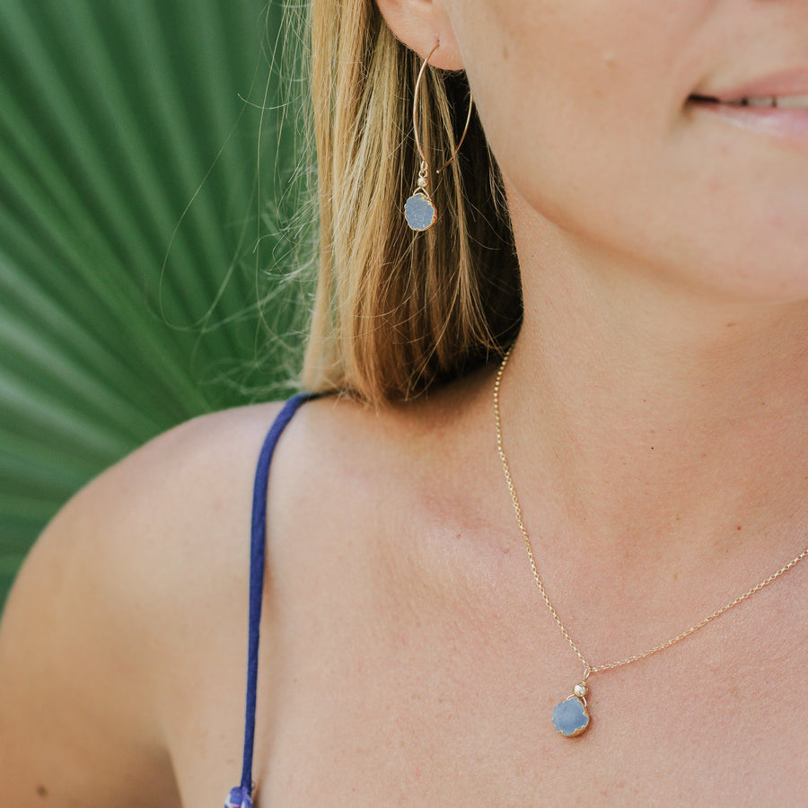 Julianna Pendant, Blue Druzy Pear with Gold 8mm - Sayulita Sol Jewelry
