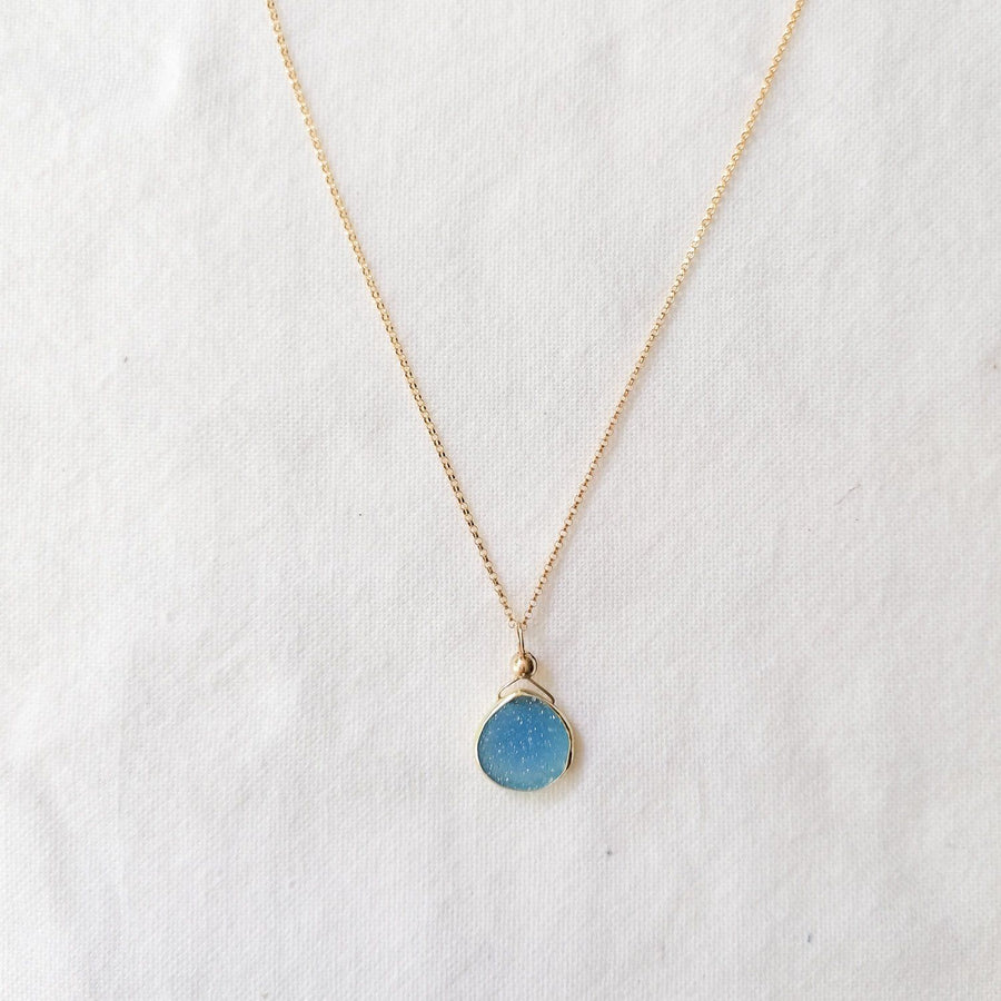 Julianna Pendant with Blue Druzy in Gold- Classic Pear Cut Necklaces Sayulita Sol