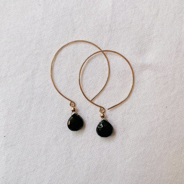 Kelly Black Spinel and Gold Hoop Earrings Earrings Sayulita Sol