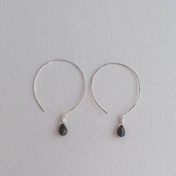 Kelly Black Spinel and Silver Hoop Earrings Earrings Sayulita Sol