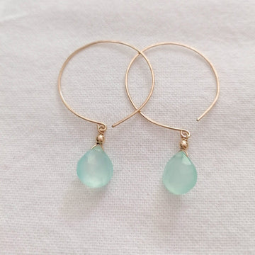 Kelly Chalcedony and Gold Hoop Earrings Earrings Sayulita Sol