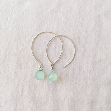 Kelly Chalcedony and Silver Hoop Earrings Earrings Sayulita Sol
