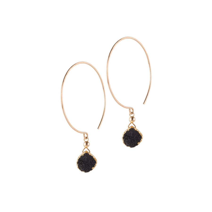 Kelly Earrings, Black Druzy Pear with contoured Gold Vermeil - Sayulita Sol Jewelry