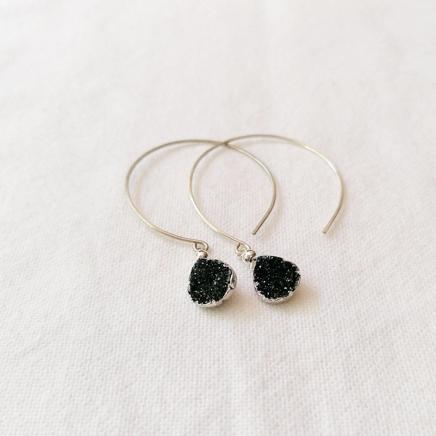 Kelly Earrings, Black Druzy Pear with contoured Silver Earrings Sayulita Sol