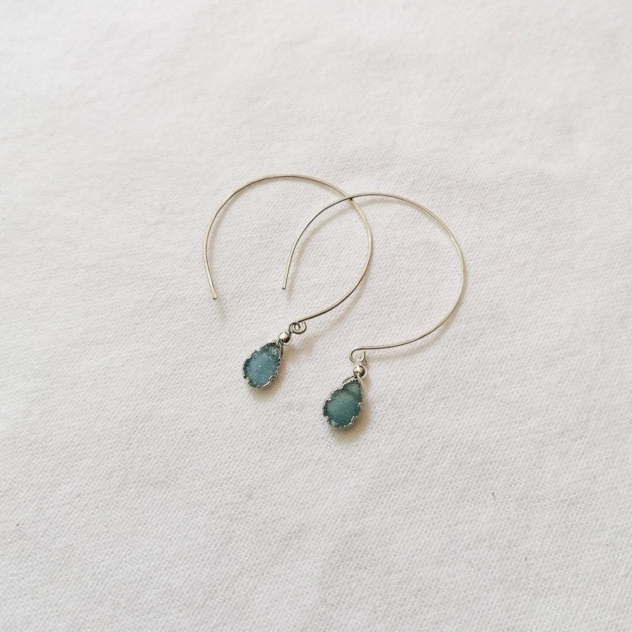 Kelly Earrings, Blue Druzy Almond with Contoured Silver Bezel Earrings Sayulita Sol