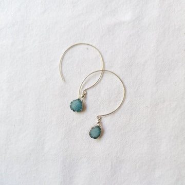 Kelly Earrings, Blue Druzy Pear with Contoured Silver Bezel Earrings Sayulita Sol