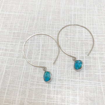 Kelly Earrings with Turquoise and Silver Bezel - Sayulita Sol Jewelry