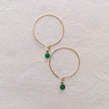 Kelly Emerald and Gold Hoop Earrings Earrings Sayulita Sol