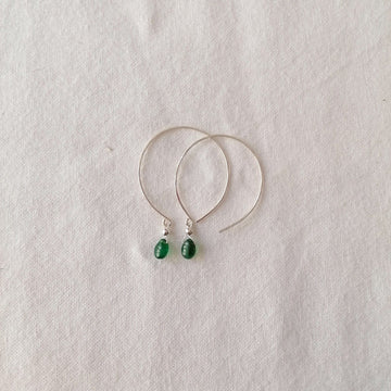 Kelly Emerald and Silver Hoop Earrings Earrings Sayulita Sol