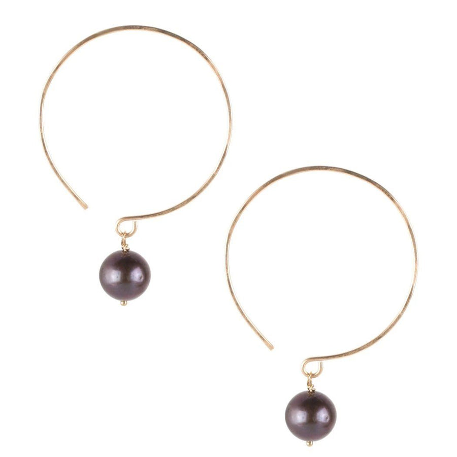Kelly Freshwater Black Pearl and Gold Earrings - Sayulita Sol Jewelry