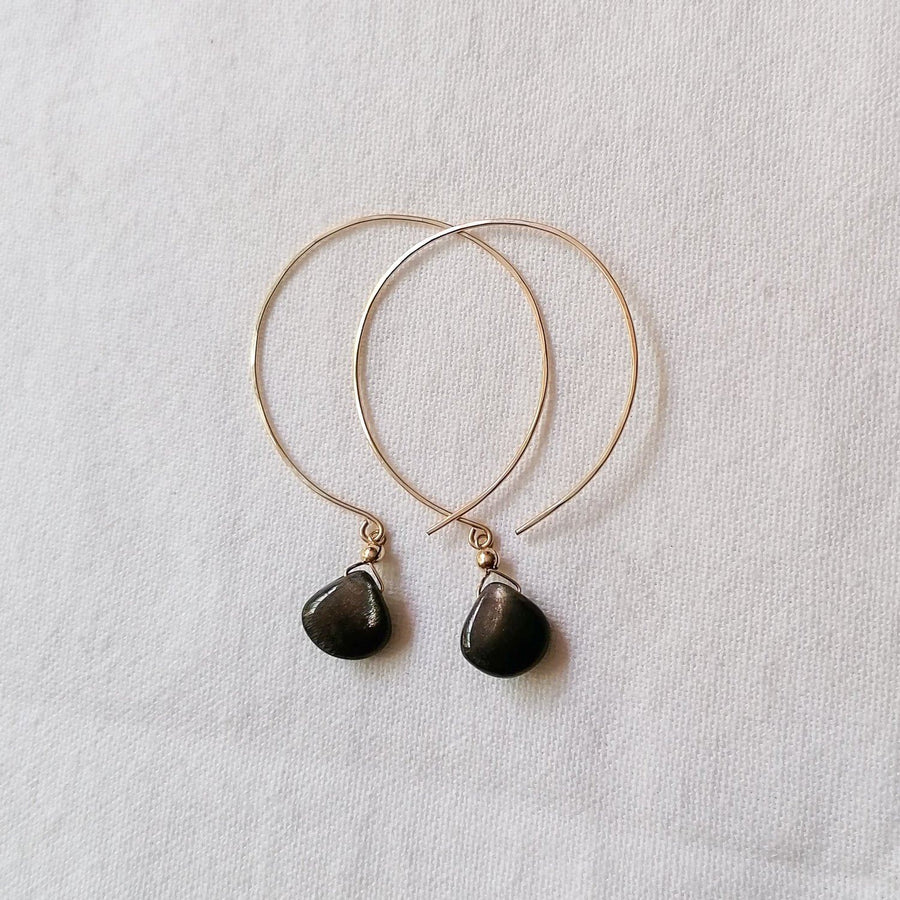 Kelly Gold Sheen Moonstone and Gold Hoop Earrings