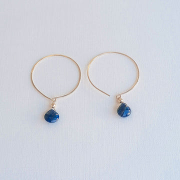 Kelly Lapis Lazuli and Gold Hoop Earrings Earrings Sayulita Sol