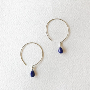 Kelly Lapis Lazuli and Silver Hoop Earrings - Sayulita Sol Jewelry