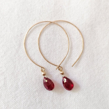 Kelly Ruby and Gold Hoop Earrings - Sayulita Sol Jewelry